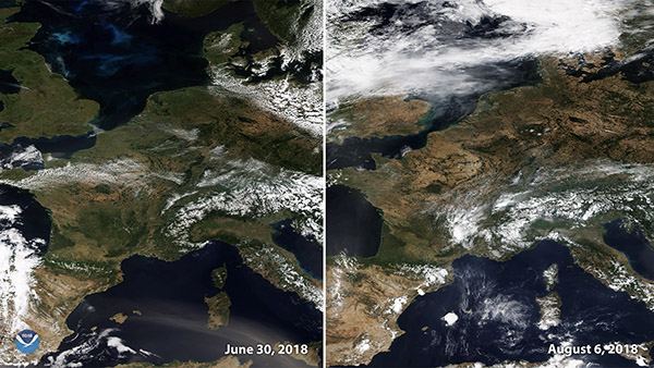 Satellite picture of Europe summer 2018